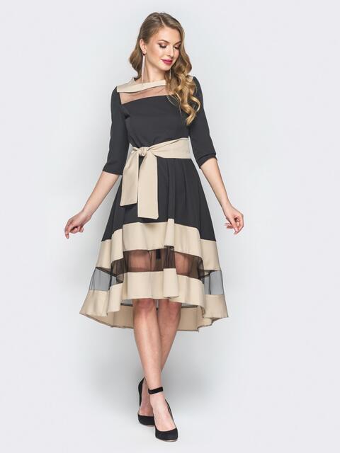 Платье с бежевыми вставками и фатином - 18582, фото 1 – интернет-магазин Dressa