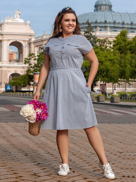 Серое платье с расклешенной юбкой 47248, фото 1