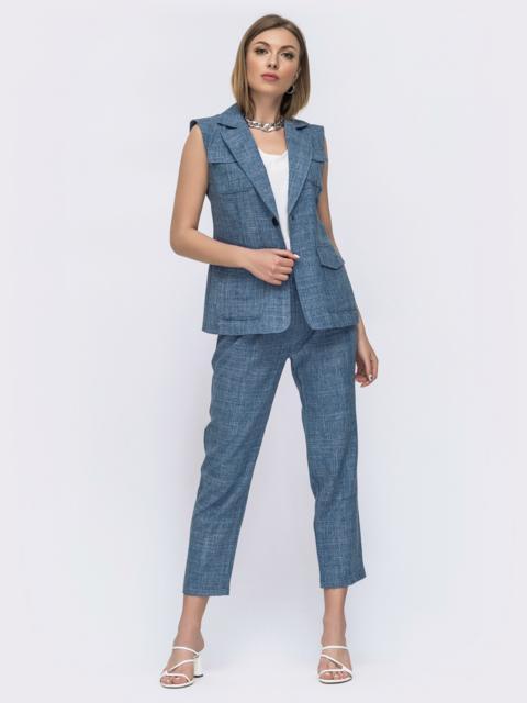Синий комплект из жилета и брюк 46612, фото 1