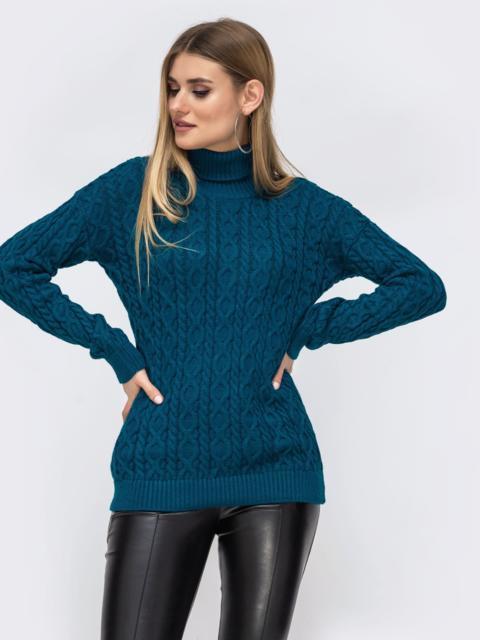 Синий свитер с ажурной вязки и высоким воротником 42724, фото 1
