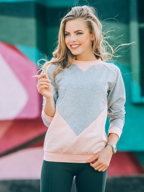 Свитшот серо-розовый с резинкой по низу - 16251, фото 1 – интернет-магазин Dressa