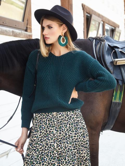 Тёмно-зеленый свитер крупной вязки с мысом на полочке 54979, фото 1