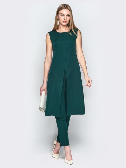 Зелёный комплект из брюк и платья с завышенной талией 20792, фото 1