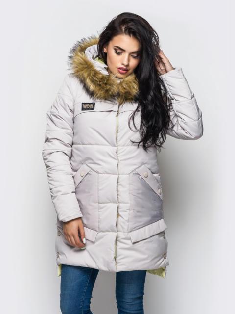 Зимняя куртка белого цвета с карманами на полочке 15209, фото 1