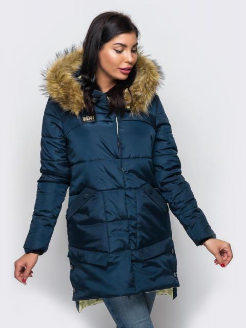 Зимняя куртка тёмно-синего цвета с карманами на полочке 15207, фото 1
