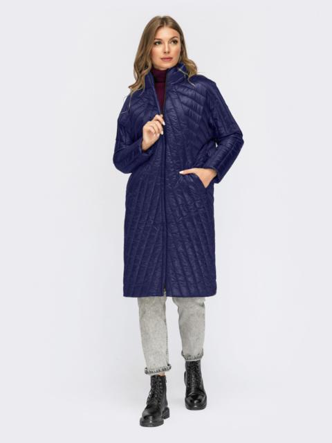 Синяя стеганая зимняя куртка с воротником-стойкой 55544, фото 1