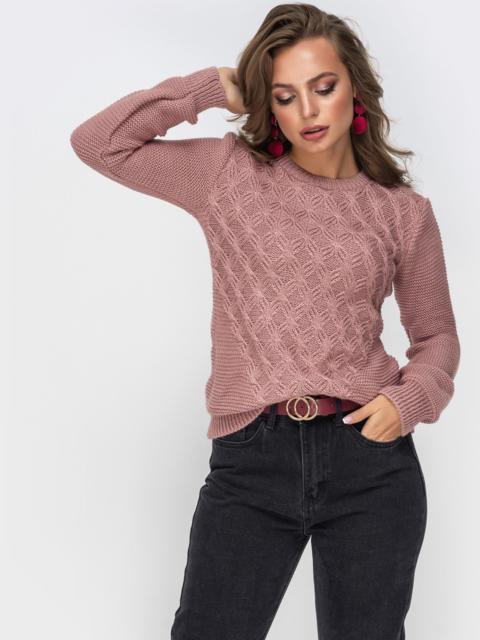 Ажурный свитер из шерсти с акрилом пудрового цвета 42328, фото 1