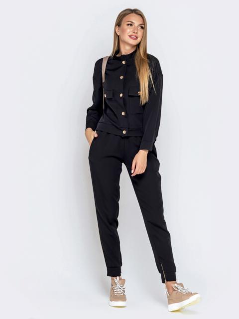 Комплект с брюками-джоггерами и жакетом чёрный - 40656, фото 1 – интернет-магазин Dressa