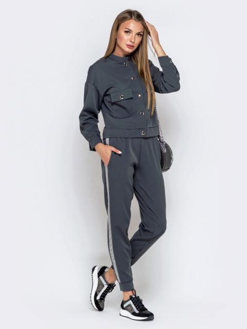 Комплект с брюками-джоггерами и жакетом серый 40657, фото 1
