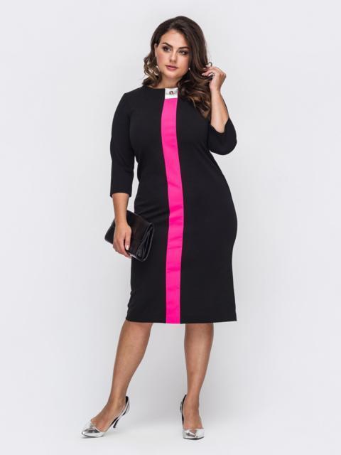Прямое платье батал чёрного цвета с контрастной вставкой 50702, фото 1