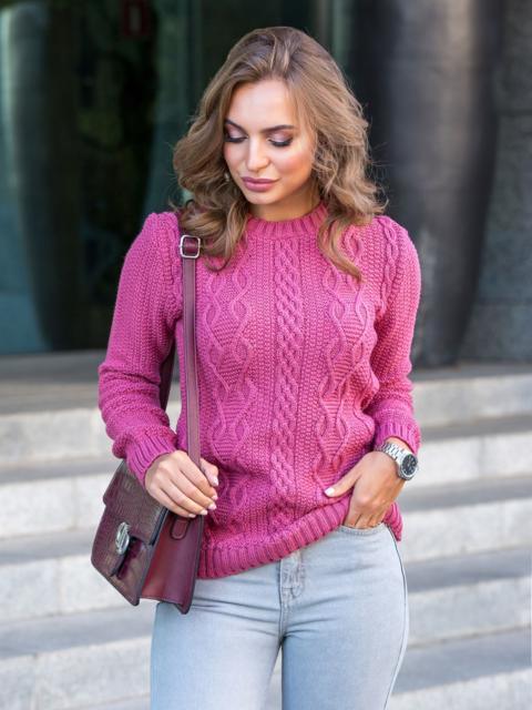 Розовый свитер из акрила с ажурной вязкой - 41159, фото 1 – интернет-магазин Dressa