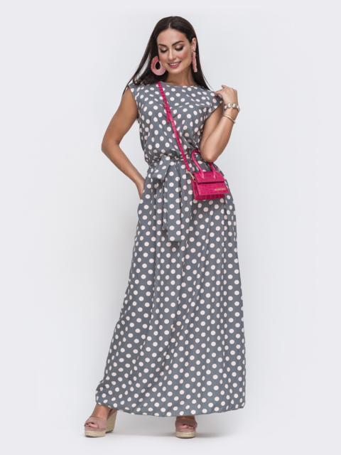 Серое платье батал в горох цвета пудры 49726, фото 1
