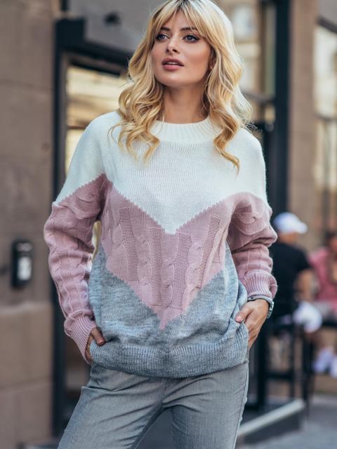 Серый свитер из шерсти с акрилом в стиле oversize 50615, фото 1