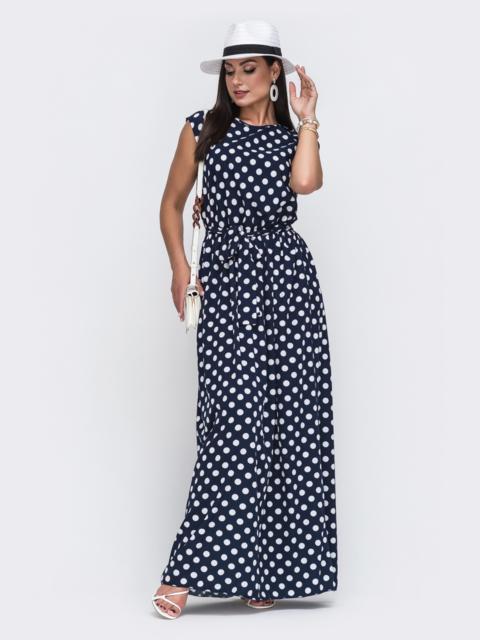 Темно-синее платье большого размера в горох 49727, фото 1