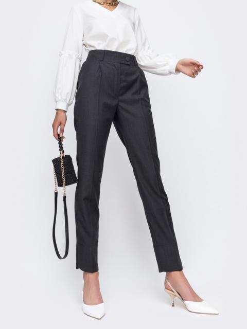 Зауженные брюки  цвета графит с карманами 49484, фото 1