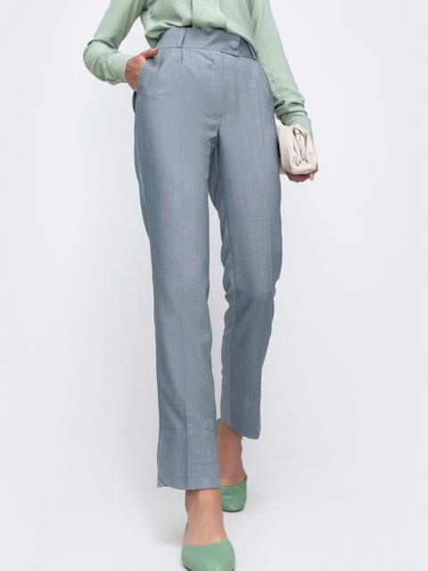 Зауженные брюки серого цвета с карманами    49485, фото 1