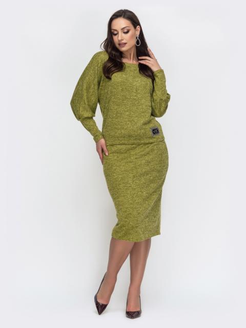 Зеленый комплект большого размера из кофты и юбки 44487, фото 1
