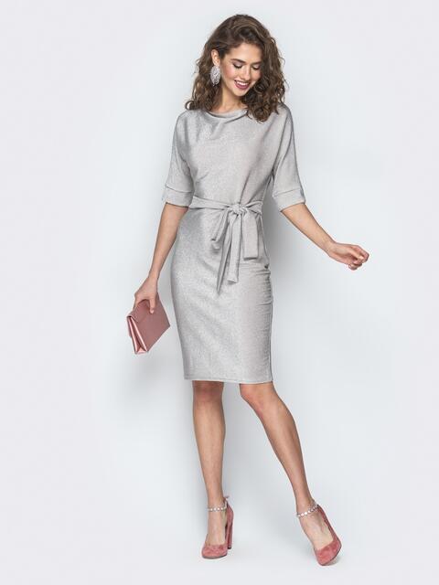 Бежевое платье из люрекса с цельнокроеным рукавом - 18608, фото 1 – интернет-магазин Dressa