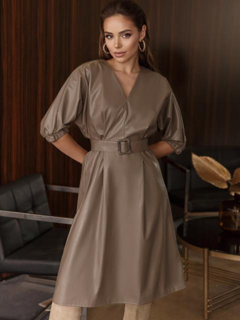 """Коричневое платье из искусственной кожи с рукавом """"летучая мышь"""" 50338, фото 1"""