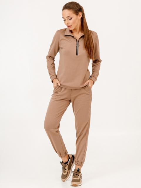 Коричневый костюм с брюками на резинке и кофтой с молнией 53084, фото 1
