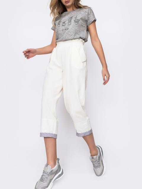 Молочные брюки с завышеной талией и подворотами 48450, фото 1
