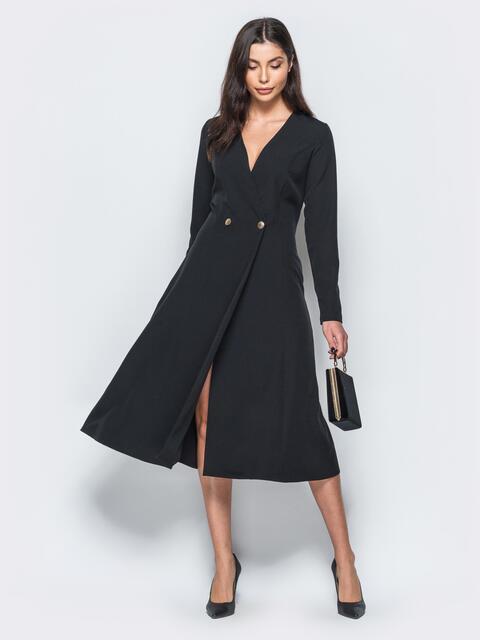 Платье-пиджак черного цвета с расклешенной юбкой - 17552, фото 1 – интернет-магазин Dressa