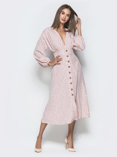 Пудровое платье в горох с драпированным лифом - 40122, фото 1 – интернет-магазин Dressa