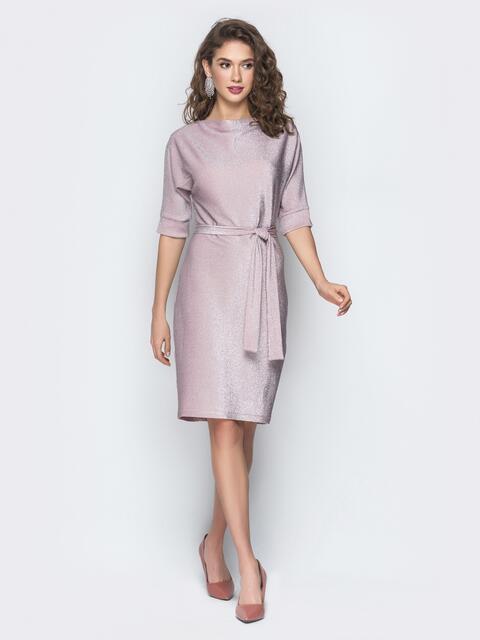 Розовое платье из люрекса с цельнокроеным рукавом - 18609, фото 1 – интернет-магазин Dressa