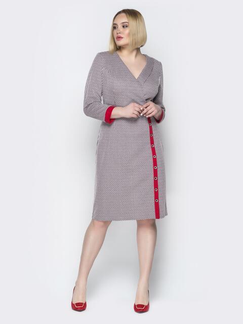 Серое платье приталенного кроя с контрастными вставками - 20195, фото 1 – интернет-магазин Dressa
