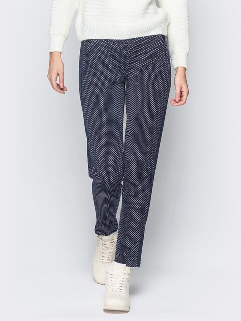 """Синие брюки на меху в мелкий принт """"горошек"""" - 18883, фото 1 – интернет-магазин Dressa"""