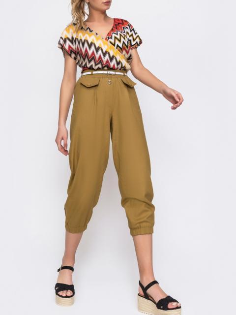 Укороченные брюки с завышенной талией цвета хаки 48440, фото 1