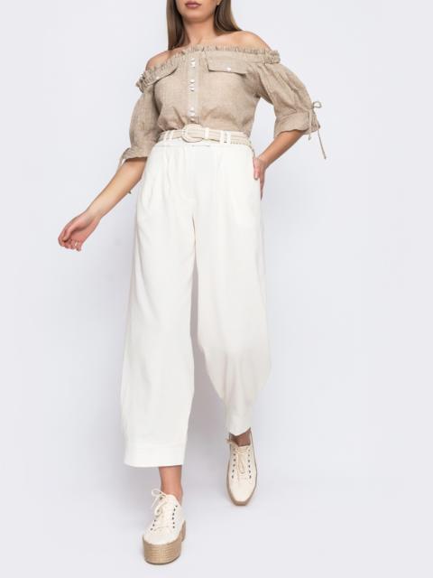 Укороченые брюки с завышеной талией молочные 48446, фото 1