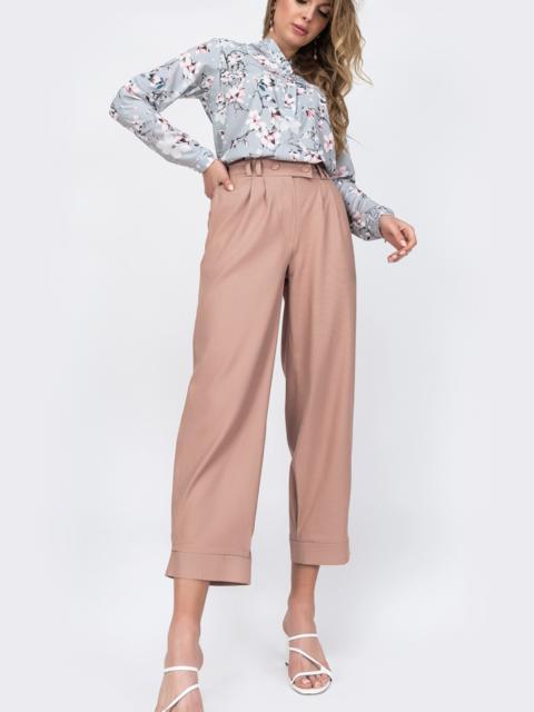 Укороченые брюки с завышеной талией розовые 48447, фото 1