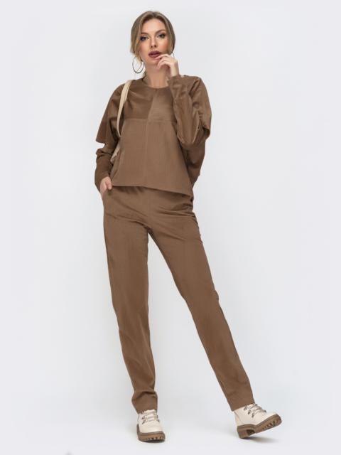Вельветовый комплект бежевого цвета из свитшота и брюк 50379, фото 1