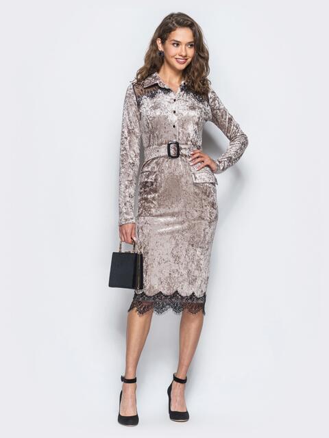 Бархатное платье бежевого цвета с функциональными пуговицами - 18082, фото 1 – интернет-магазин Dressa