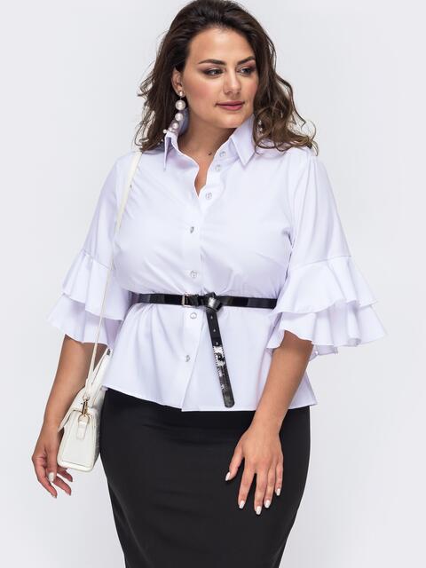 Белая блузка большого размера с воланами на рукавах 49902, фото 1