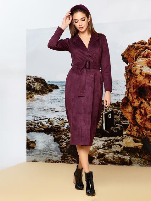 Бордовое платье на запах из замши с широкими лацканами - 42196, фото 1 – интернет-магазин Dressa