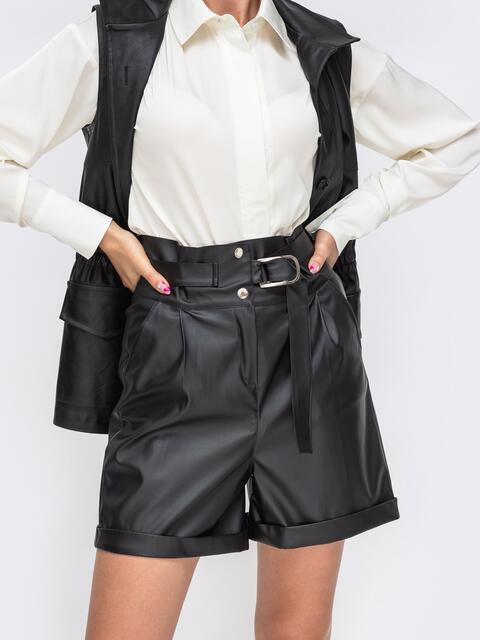Чёрные шорты из искусственной кожи с высокой посадкой 50351, фото 1