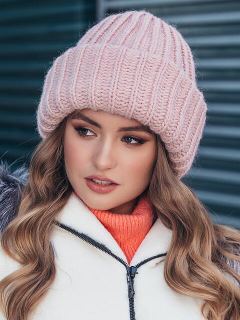 Двойная шапка пудрового цвета 40523, фото 1