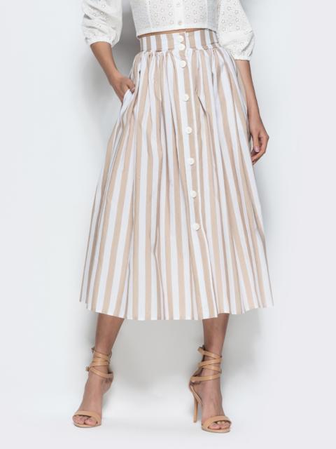 Хлопковая юбка в бежевую полоску со складками - 38617, фото 1 – интернет-магазин Dressa