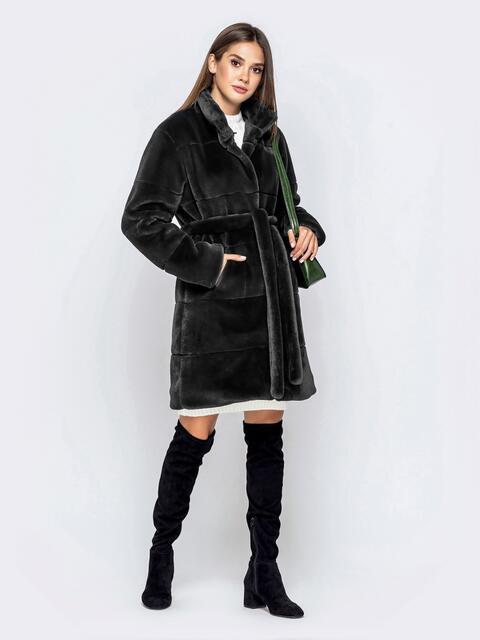 Искусственная шуба серого цвета с воротником-стойкой - 43124, фото 1 – интернет-магазин Dressa