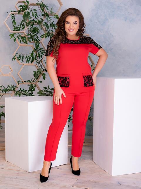 Комплект батал с гипюровой кокеткой на блузке красный 47134, фото 1