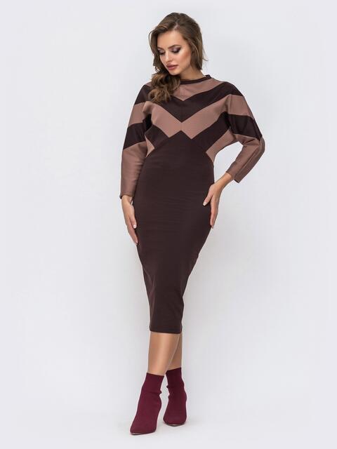 """Коричневое платье из французского трикотажа с рукавом """"летучая мышь"""" - 42753, фото 1 – интернет-магазин Dressa"""