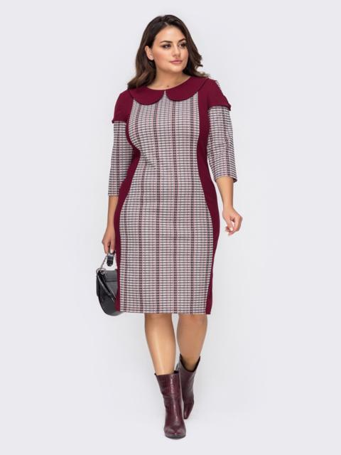 Платье-футляр большого размера бордовое 51512, фото 1