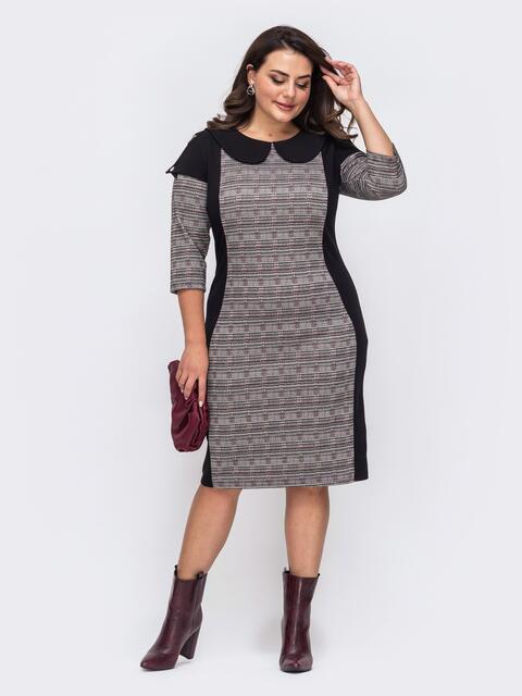 Платье-футляр большого размера чёрное 51511, фото 1