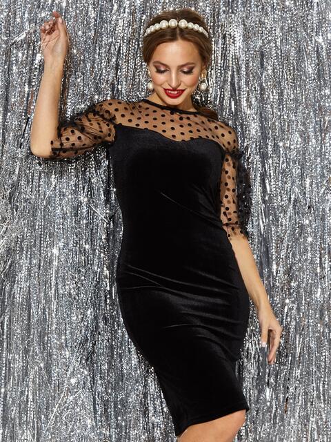 Платье-футляр из велюра с фатиновой кокеткой и рукавами чёрное - 42752, фото 1 – интернет-магазин Dressa