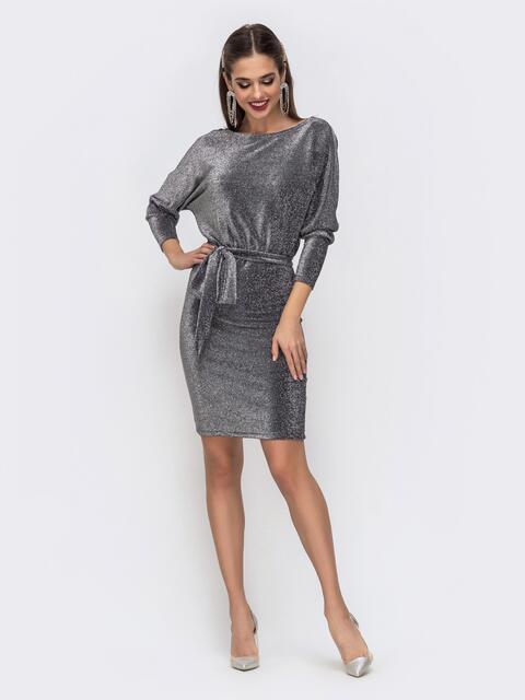 """Платье из люрекса с рукавом """"летучая мышь"""" серого цвета 42744, фото 1"""