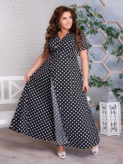 Платье на запах большого размера в горох чёрное 47196, фото 1