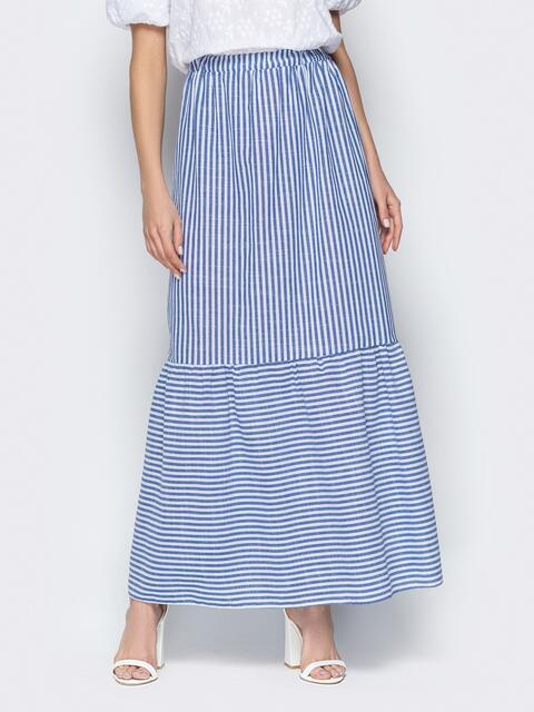 Синяя юбка в полоску на резинке с воланом по низу - 20504, фото 1 – интернет-магазин Dressa