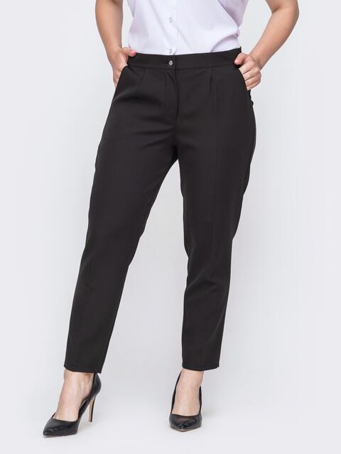 Зауженные брюки батал со стандартной посадкой чёрные 49903, фото 1
